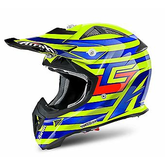Airoh Aviator J Motocross and ATV Helmet Gloss Blue/Orange/Yellow ACU Approved