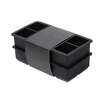 2ks 2 palec 8 štvorcových silikónová kocka ľadu forma bez krytu čierna