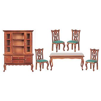 Κούκλες Σπίτι Καρυδιά & Πράσινα έπιπλα τραπεζαρίας που τίθενται με τον πίνακα και τις καρέκλες κομμών