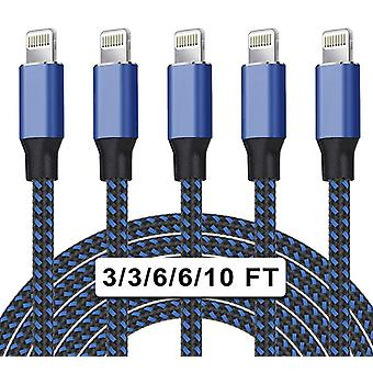 5 Pack Nylon Braided Iphone Charger Lightning Cable Fast Charging
