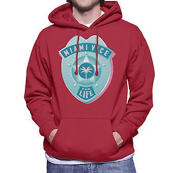 Miami Vice For Life Police Badge Men's Hooded Sweatshirt