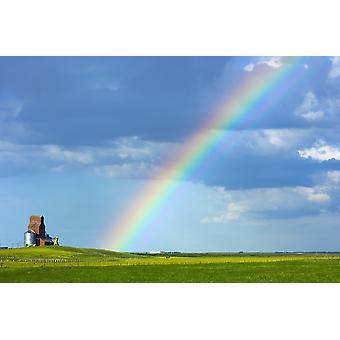 Arco iris en el cielo al lado de una elevatorSaskatchewan de grano Canadá PosterPrint