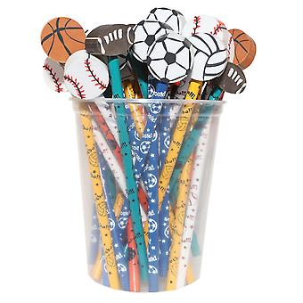Moon Pencil & Eraser Topper Write-Ons, Sports, Pack Of 36