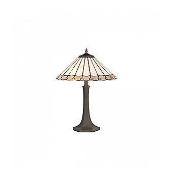 Lámpara De Mesa Tiffany Calais 2 Bombillas Gris 31 Cm