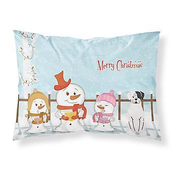 Caroline's Treasures Merry Christmas Carolers White Boxer Cooper Fabric Standard Pillowcase Bb2445Pillowcase, Multicolor