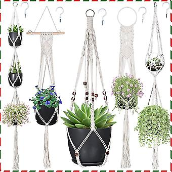 Macrame Plant Hanger, Rope Plant Hanger, Flower Pot Hanger for Indoor and Outdoor Hanging Planters
