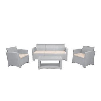 Marbella 5 Seater Rotan Sofa Outdoor Garden Set Salontafel Grijs