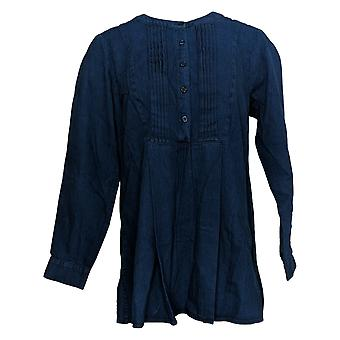Joan Rivers Women's Top Long Sleeve Denim Shirt Blue A366279