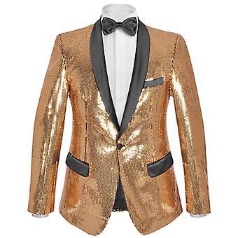 Pánská flitrová večerní bunda Smokingedo Blazer Gold Size 46