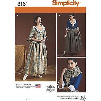 بساطة نمط الخياطة 8161 يفتقد 18 القرن اللباس الأزياء حجم 6-14