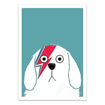 Art-Poster - Dog Bowie White - Doozal