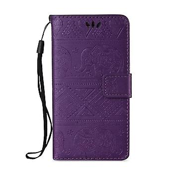 Elephant Pattern Leather Folio Case for Nokia 8 siroCCo - Fioletowy