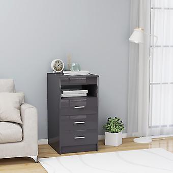 vidaXL Sideboard mit Schubladen Hochglanz-Grau 40×50×76cm Spanplatte