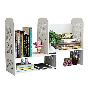 Homemiyn Desktop Bookshelf Adjustable Countertop Bookcase Office Supplies Desk Organizer Accessories Display Rack