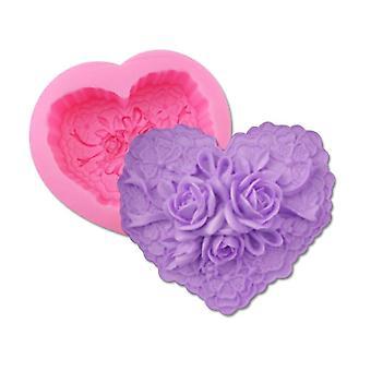 1pcs Big love heart shape flower Resin Clay Soap Mold