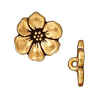 TierraCast Antiqued 22K Vergoldete bleifreie Zinn Apfelblüte Knöpfe 15,5mm (2)