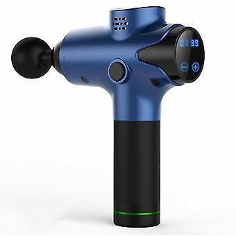 Au תקע כחול fascia אקדח מרפה חשמלי הלם חשמלי לתפוס אקדח עיסוי אקדח כושר מוט ויברטור עמוק 3 קבצים 6 ראש az14474