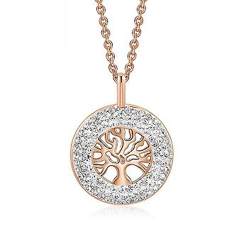 Women Necklace Lucky Tree Hollow Swarovski Elements Rose Gold Jeweled Pendant For Daily Use