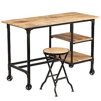 vidaXL desk with folding stool Mango wood solid 115x50x76 cm