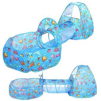 3 In 1 kids foldable play tent teepee toys set with ball pool&crawl tunnels baby toddler children play house indoor/outdoor pop up playhouse gifts