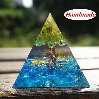 50mm Orgone Pyramid Peridot Cristal Tree Of Life Sininen Kristalli Kupari