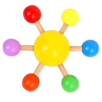 Topo giratório colorido da ponta dos dedos, brinquedo de descompressão de lazer divertido de madeira (amarelo)