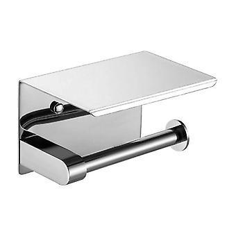 Roestvrij staal toiletpapier houder badkamer handdoek rack roll papier tissue plank (zilver)