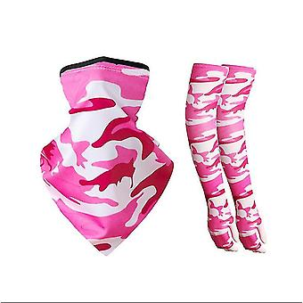 Cycling Ice Silk Ear-hanging Mask  Sun Protection Sleeve Set(Pink)