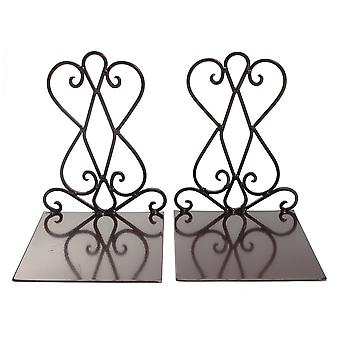 2Pcs Vintage Iron Bookends Shelf Craft Stand Antique Book End Home Room Decor Ornaments