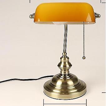 E27 Klasyczna lampa stołowa Vintage Banker z przełącznikiem Zielona szklana osłona lampy