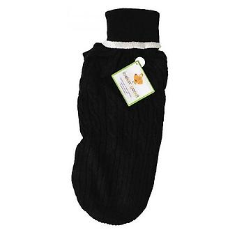 """Fashion Pet Cable Knit Dog Sweater - Black - Medium (14""""-19"""" From Neck Base to Tail)"""