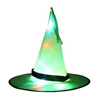 Halloween LED Licht Hexe Hut Glühende Hexen Mützen Requisiten Hängende Dekor Hut (Grün)