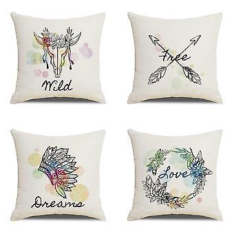 Housses d'oreiller décoratives Ensemble de 4 polyester doux avec citations