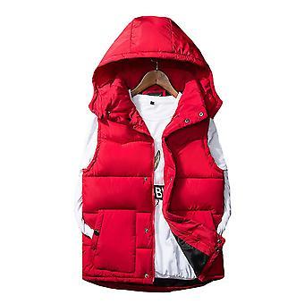 Allthemen Men's Padded Waistcoat Detachable Cap Autumn Sleeveless Padded Jacket