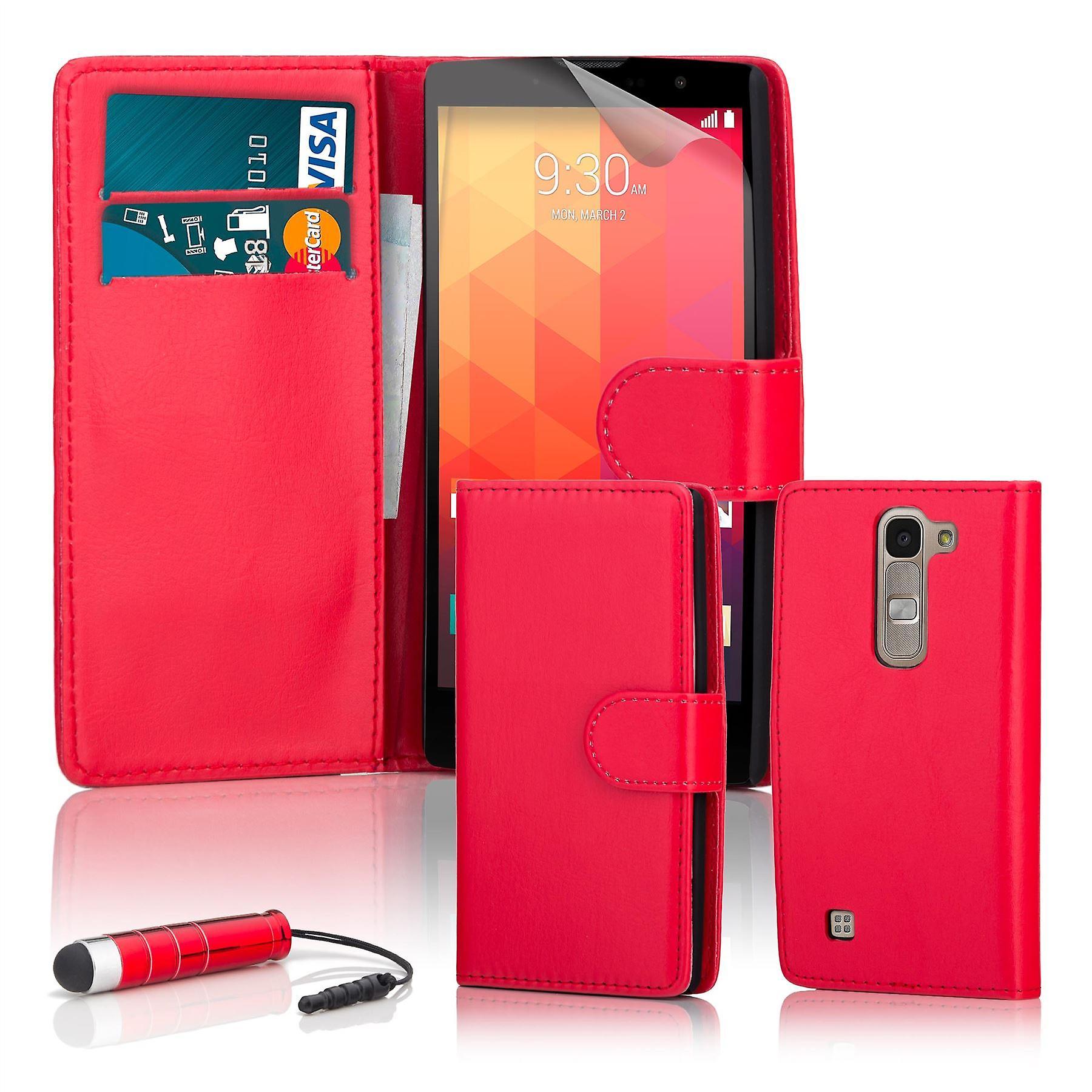 Book wallet case + stylus for LG Spirit (2015) - Red