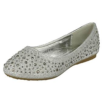 Girls Spot On Studded Detail Ballerina Flats