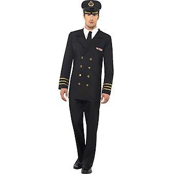Naval Officer Costume męska czarna kurtka spodnie mock koszulę i kapelusz rozmiar L