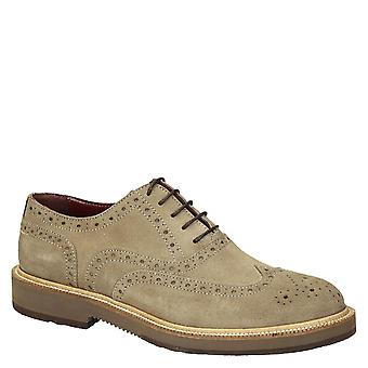 Beige suede leather men's wingtip brogues oxfords shoes