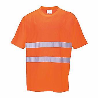 Portwest - lättvikts bomull Comfort Kortärmad Crew Neck reflekterande T-shirt