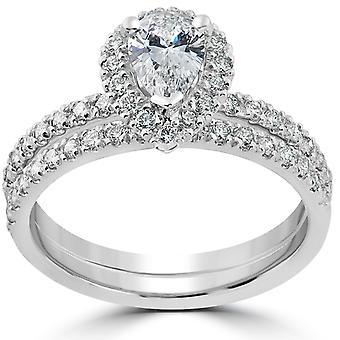 1 1/10ct Pear Shape Halo Diamond Engagement Wedding Ring Set 14k White Gold