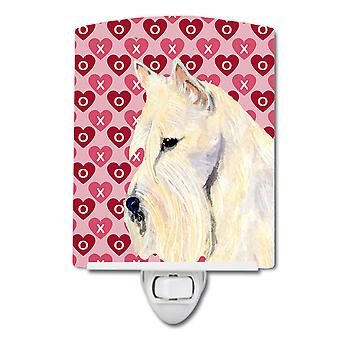 Scottish Terrier Hearts Love Valentine's Day Portrait Ceramic Night Light