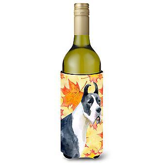 Harlequin tanskandoggi syksyllä viinipullo Beverge eriste Hugger
