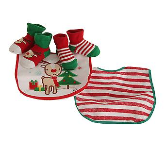 Nursery Time Baby Boys/Girls Rudolph The Reindeer Christmas Gift Set (Bibs & Socks)