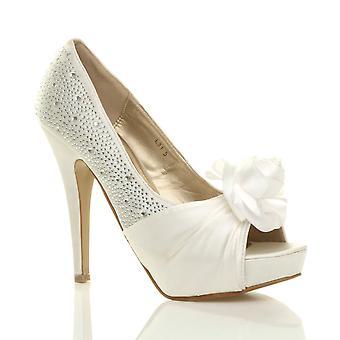 Womens Ajvani noite casamento formatura festa flor diamante salto alto plataforma peep toe sapatos sandálias bombas