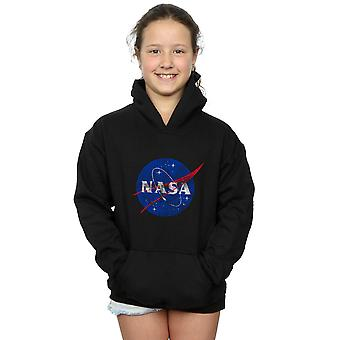 NASA Girls Classic Insignia Logo Distressed Hoodie