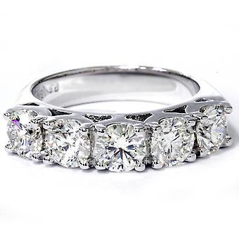 3 3/4ct 5-Stone Lab Created Diamond Wedding Ring 14K White Gold