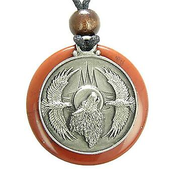 Amulet huilende Wolf Eagles magische medaillon cirkel rode Jasper hanger ketting