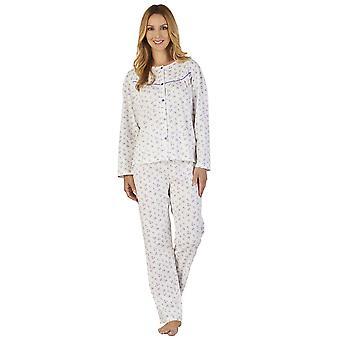 Solo Jersey Floral do pijama pijama conjunto Slenderella PJ2115 feminina