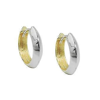 Creole 14x3mm hinged flip top yellow gold white gold bicolor by alloyed 9Kt GOLD