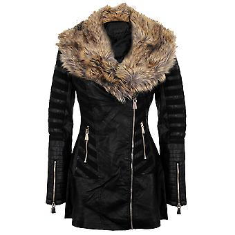 Ladies Faux PVC Leather Fur Collar Mesh Insert Long PU Zipper Coat Jacket